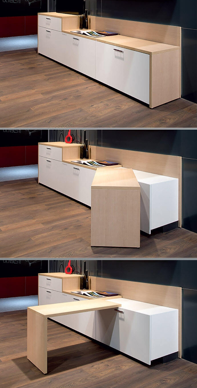 Kitchen cabinet with a mobile bar