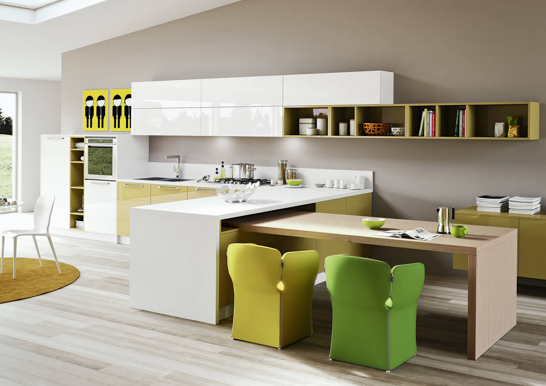 Kitchen design pop art style in green colors