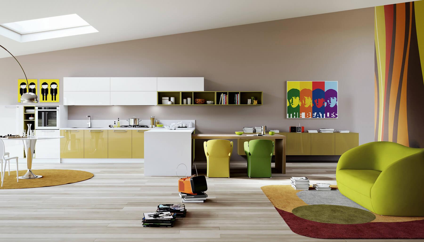 Kitchen design pop art style in green tones