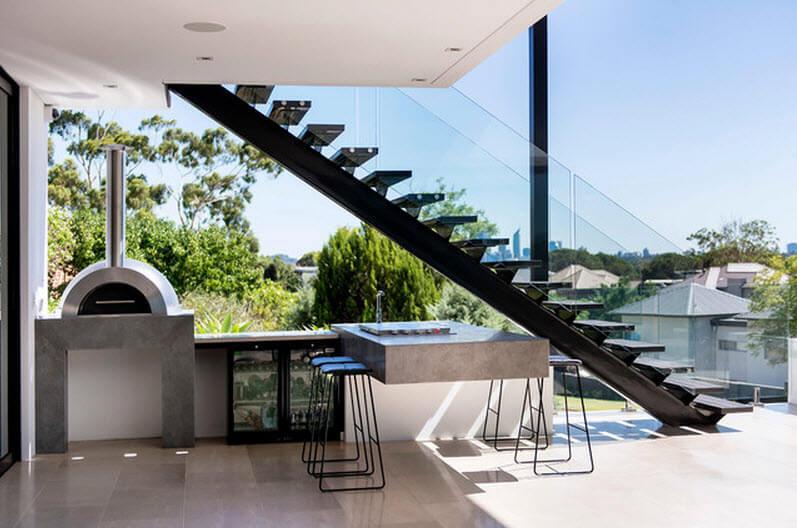 Kitchen design under the stairs