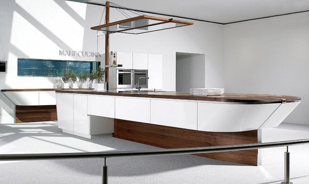 Kitchen design with boat island