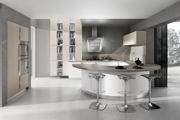 Kitchen design with circular island