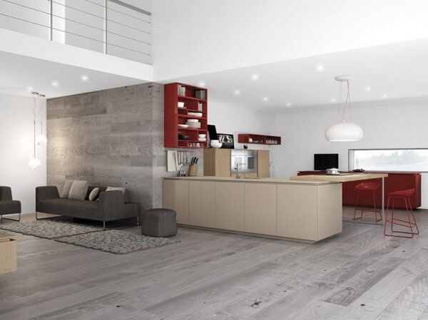 Kitchen design with contrast gray color with red stools and shelves