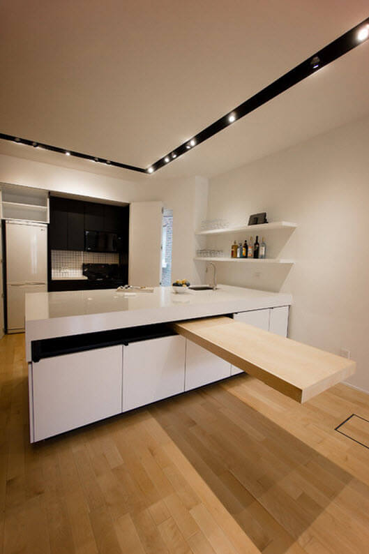 Kitchen design with floating island