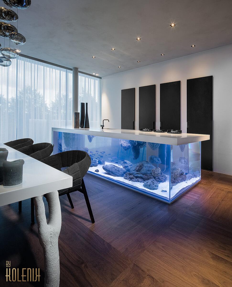 Kitchen design with island fish tank