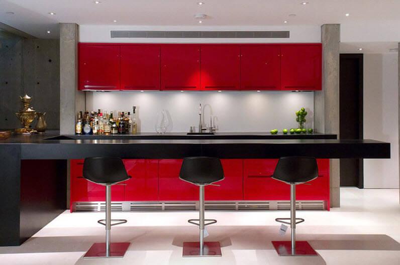 Kitchen design with red furniture