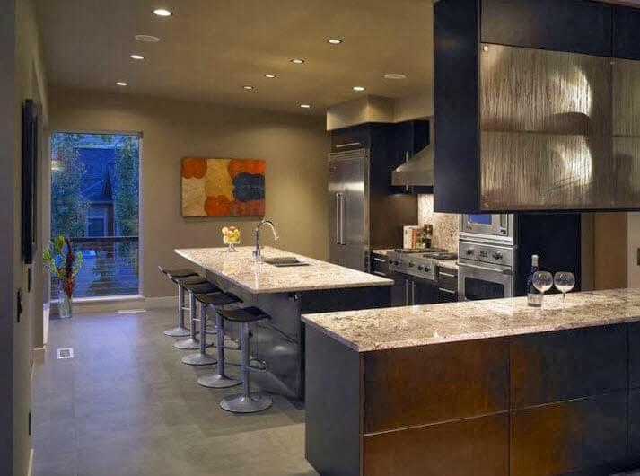 Kitchen island covered with granite board