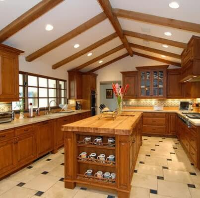 Kitchen island design with shelves and dishes