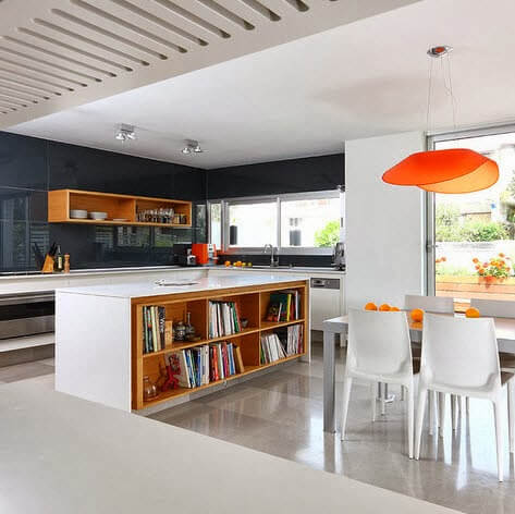 Kitchen island design with shelves for books
