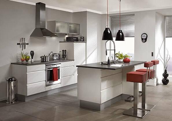 Kitchen island in gray tones