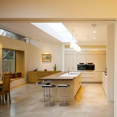 Kitchen with natural light from the ceiling