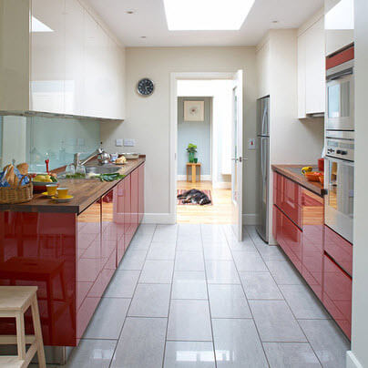 Kitchen with red furniture kitchen with white walls design