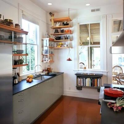 Kitchen with shiny laminate floor