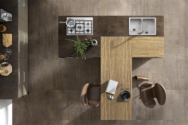 Kitchen with wooden island