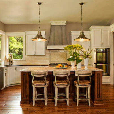 Large kitchen design with wooden flooring tiles