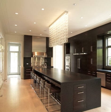 Large kitchen island in black with crystals