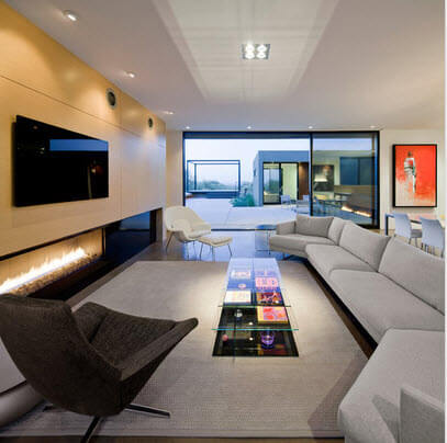 Living room with TV in the center