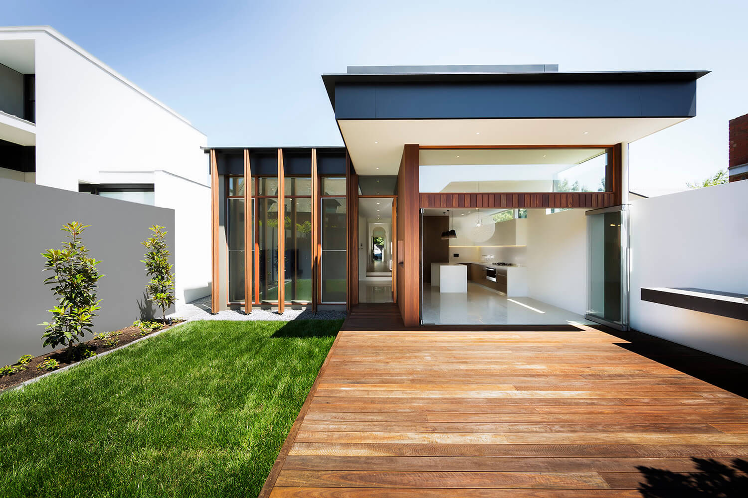 Main facade modern wooden house