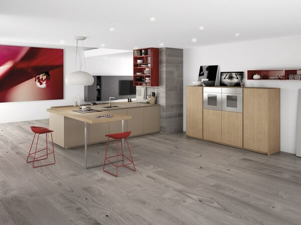 Minimalist kitchen design gray and red colors