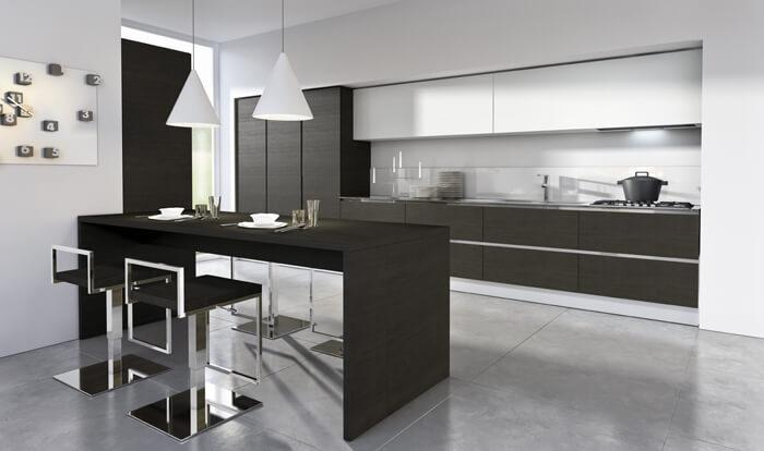 Modern kitchen design in black and white