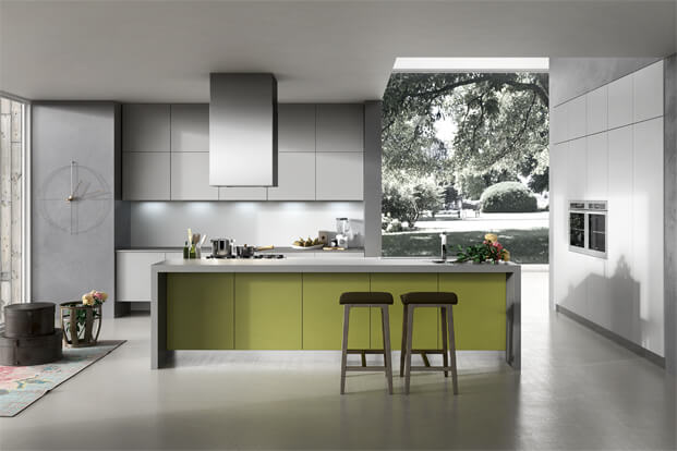 Modern kitchen design in gray and green