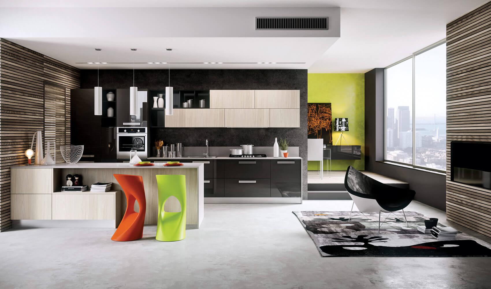 Modern kitchen design pop art style