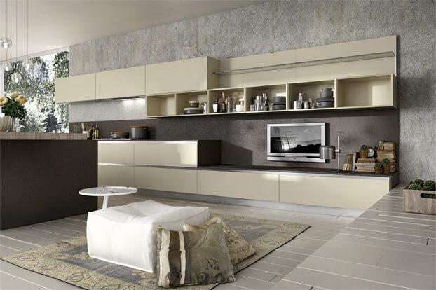 Modern kitchen design with TV