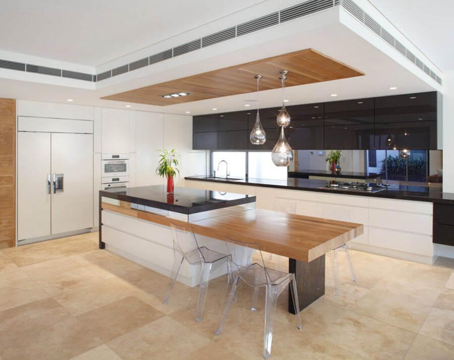 Modern kitchen design with light color shelves