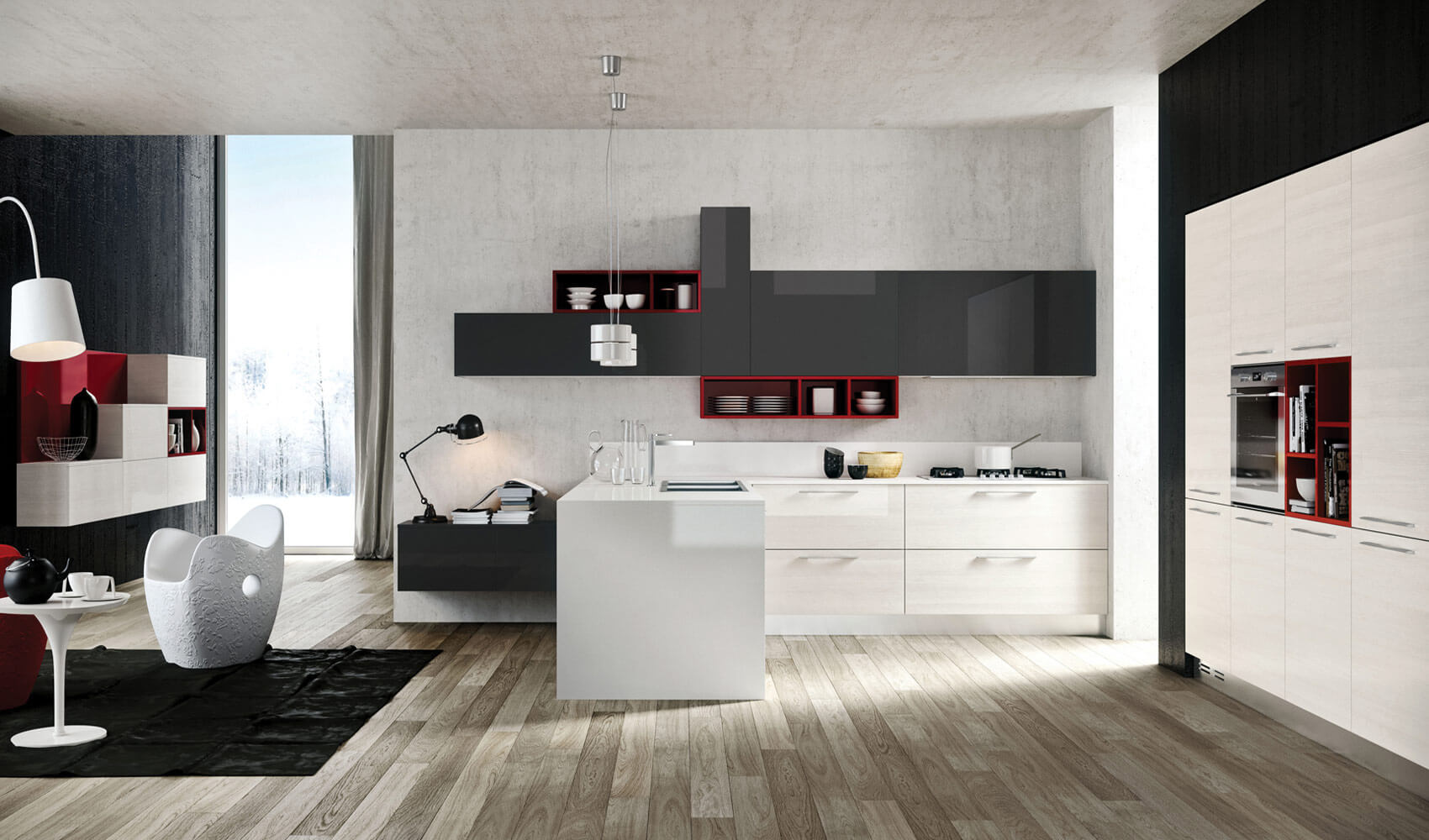Modern kitchen design with pop style in black and white