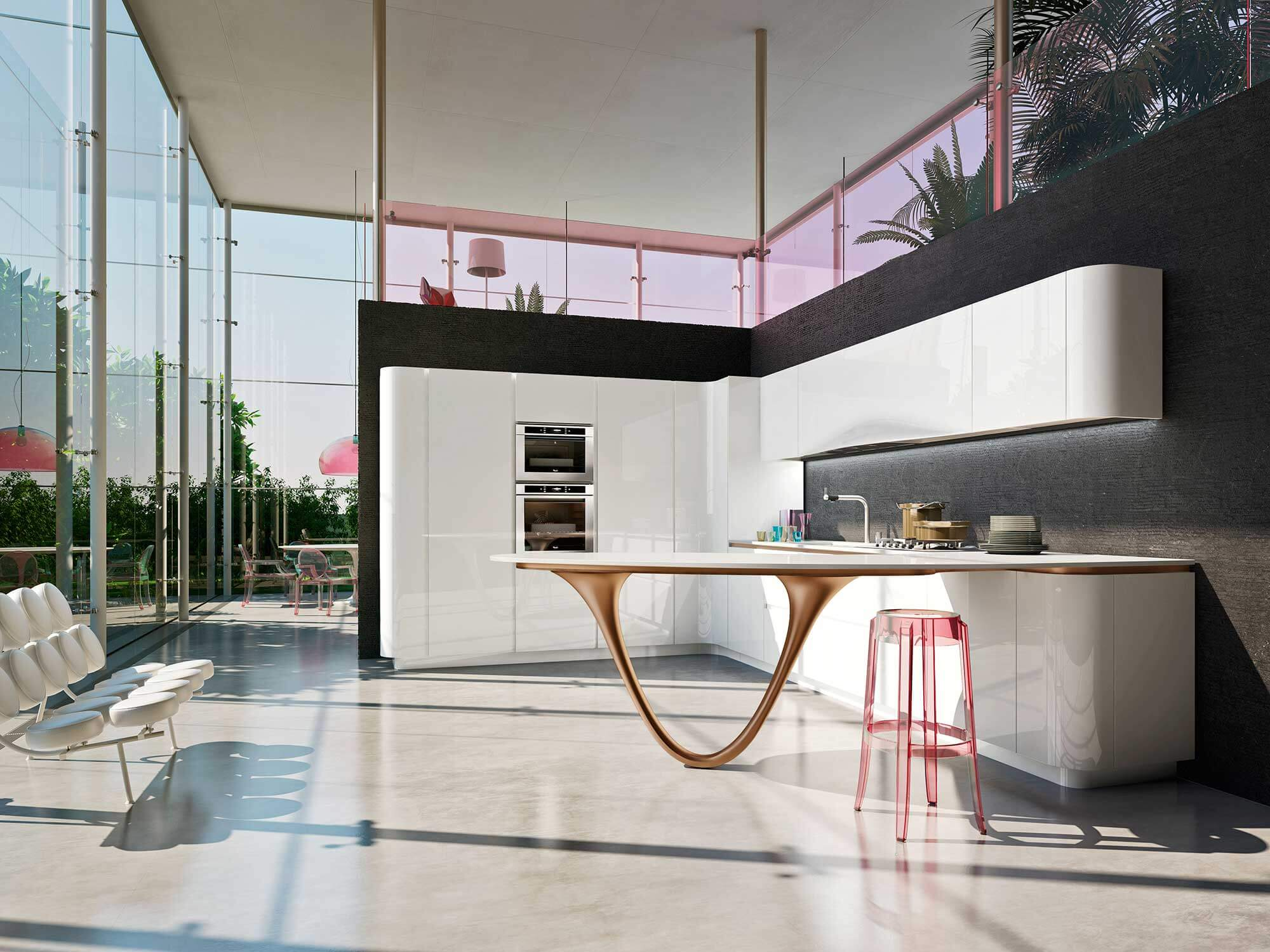 Modern kitchen design with stylized table