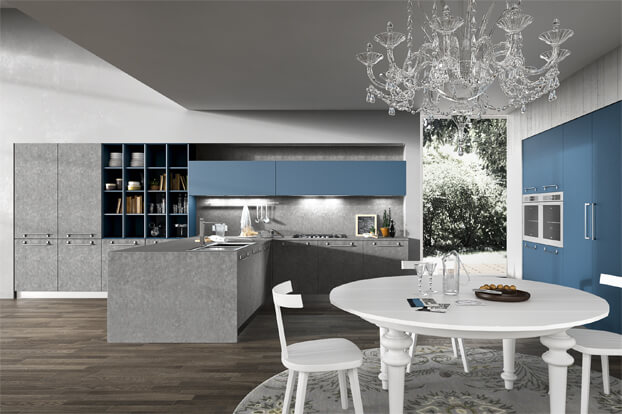 Modern kitchen design with two-color furniture