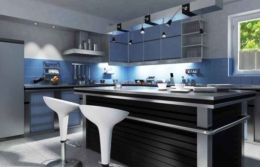 Modern kitchen idea with light works