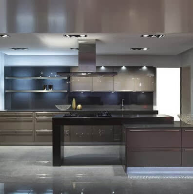 Modern kitchen in gray with black board