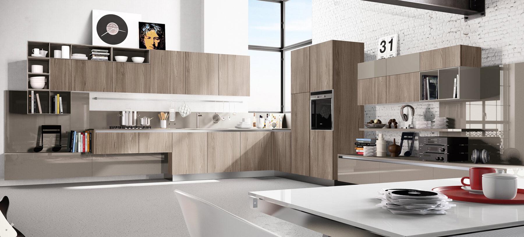 Modern kitchen in natural wood color design