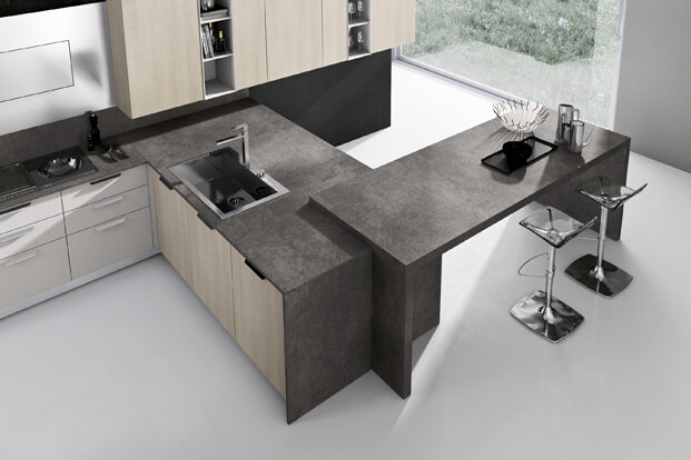 Modern kitchen island in gray and wood