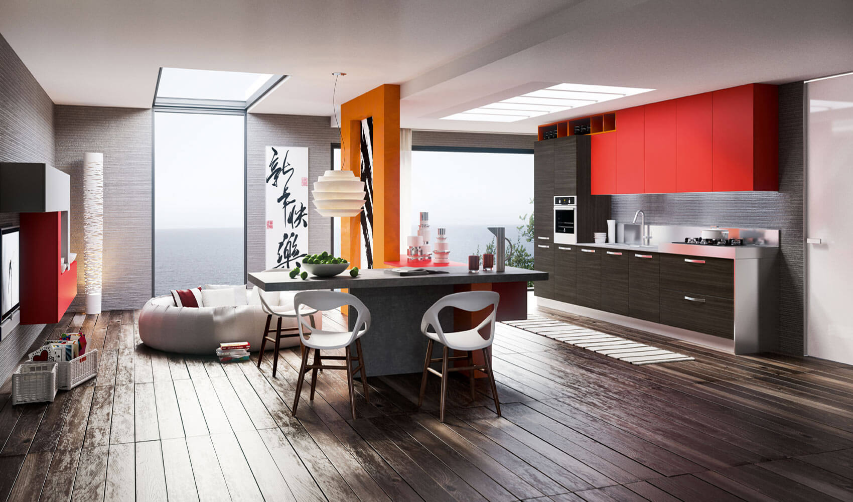 Modern kitchen red and gray color, perspective
