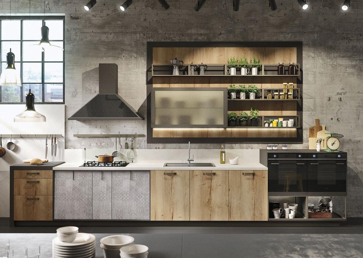 Modern kitchen that combines textures metal wood concrete