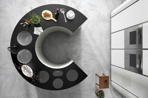 Modern kitchen with circular island design
