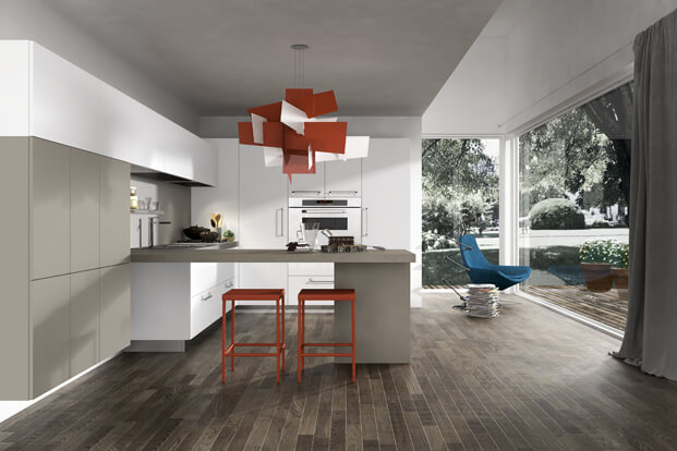 Modern kitchen with design red lamp