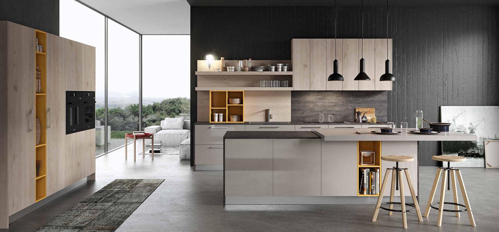 Modern kitchen with gray concrete textures