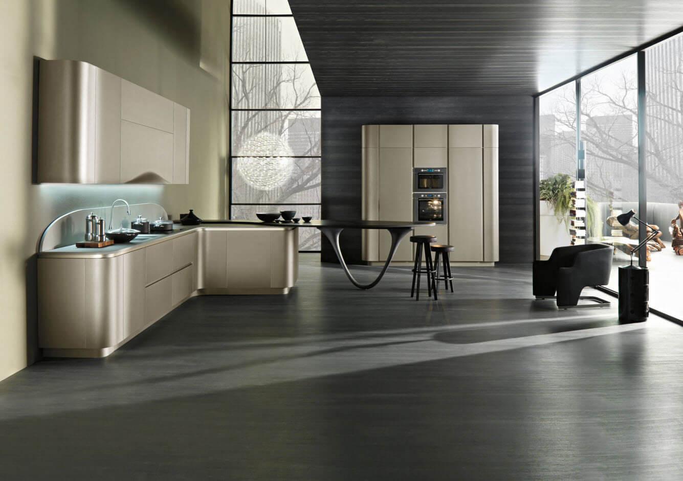 Modern kitchen with gray quartzite countertop