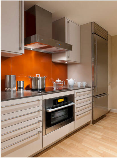 Modern kitchen with orange walls and chrome appliances