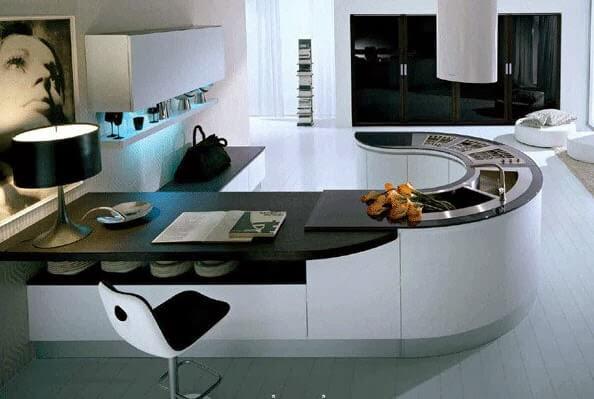 Modern oval kitchen with bar design