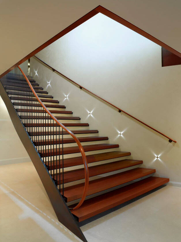 Modern wide illuminated staircase