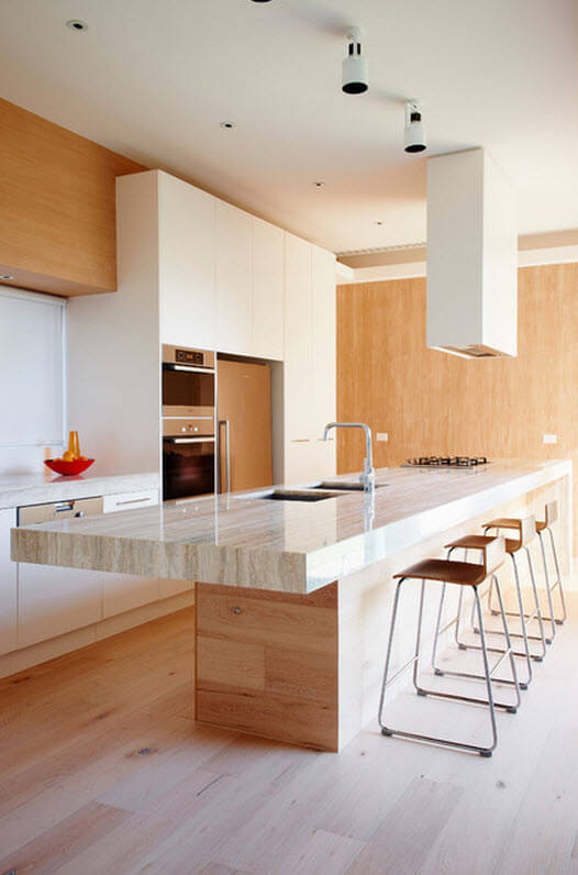 Modern wood kitchen with marble countertop