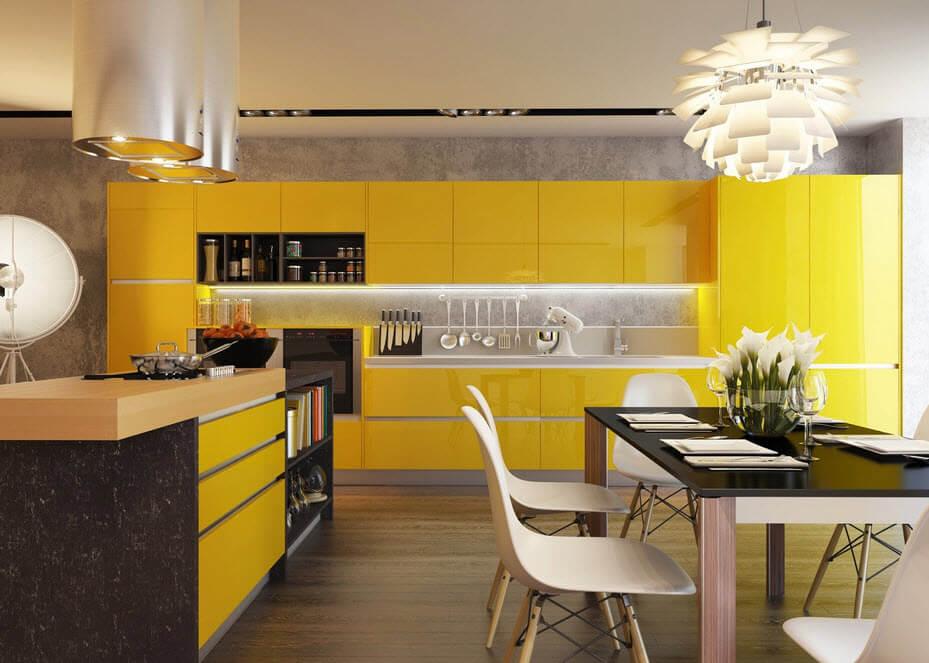 Modern yellow kitchen with black