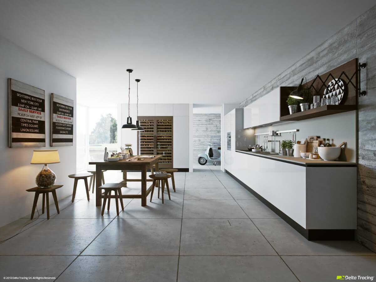 Original kitchen design with front lighting