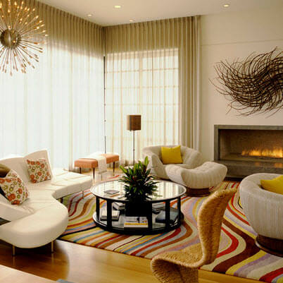Retro living room design with curved furniture
