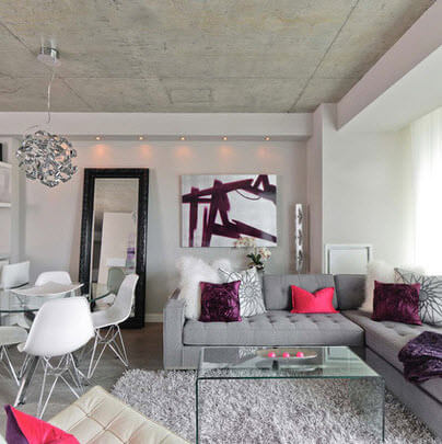 Room with unpolished concrete roof