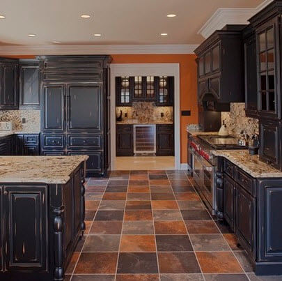 Rustic kitchen design with rustic floors